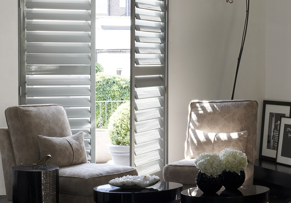 Full height lounge shutters finished in Designer Putty Grey